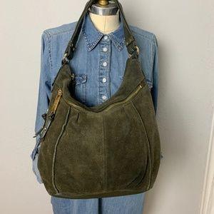 Tignanello Olive Green Brown Large Suede Hobo Bag